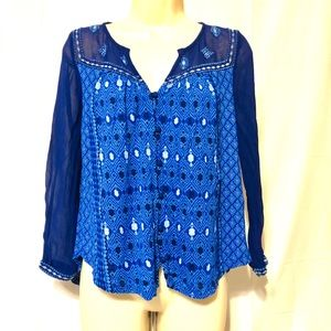 Lucky Brand Women's Blue Pattern T Small
